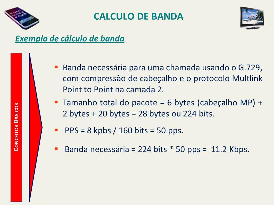 CALCULO DE BANDA C ONCEITOS B ÁSICOS Exemplo de cálculo de banda Banda necessária para uma chamada usando o G.729, com compressão de cabeçalho e o pro