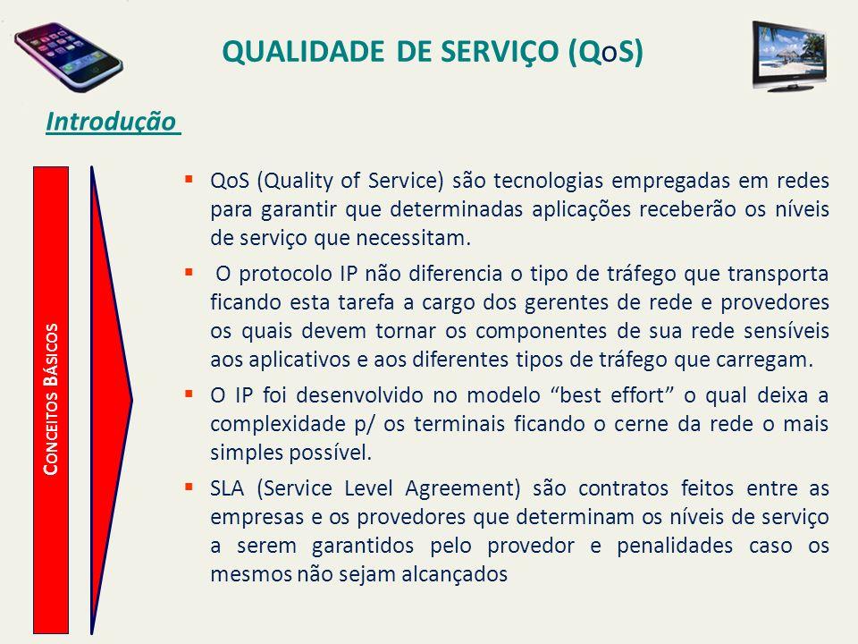 QUALIDADE DE SERVIÇO (QoS) C ONCEITOS B ÁSICOS Introdução QoS (Quality of Service) são tecnologias empregadas em redes para garantir que determinadas