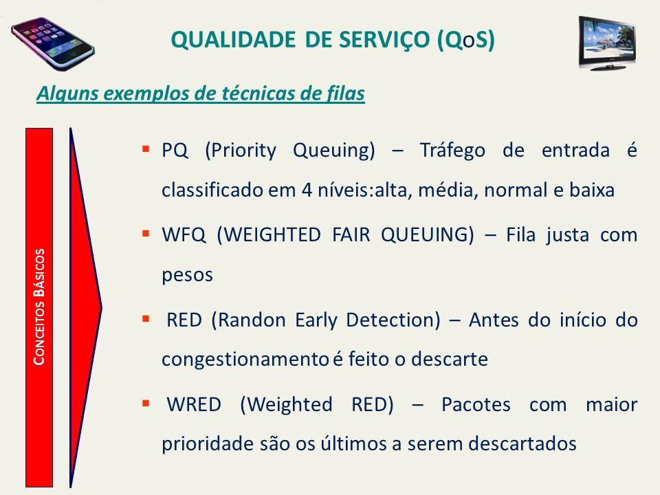 QUALIDADE DE SERVIÇO (QoS) C ONCEITOS B ÁSICOS Alguns exemplos de técnicas de filas PQ (Priority Queuing) – Tráfego de entrada é classificado em 4 nív