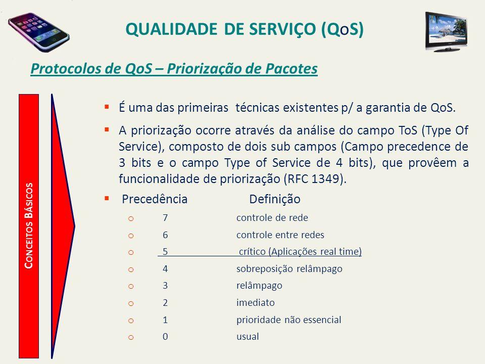 QUALIDADE DE SERVIÇO (QoS) C ONCEITOS B ÁSICOS Protocolos de QoS – Priorização de Pacotes É uma das primeiras técnicas existentes p/ a garantia de QoS