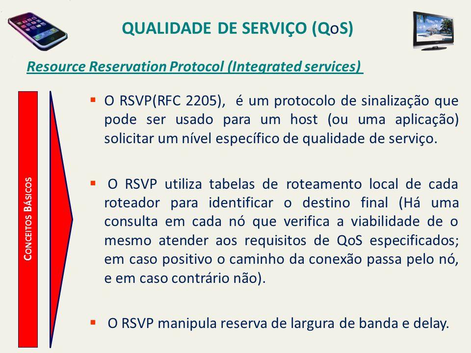 QUALIDADE DE SERVIÇO (QoS) C ONCEITOS B ÁSICOS Resource Reservation Protocol (Integrated services) O RSVP(RFC 2205), é um protocolo de sinalização que