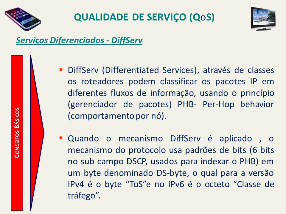 QUALIDADE DE SERVIÇO (QoS) C ONCEITOS B ÁSICOS Serviços Diferenciados - DiffServ DiffServ (Differentiated Services), através de classes os roteadores