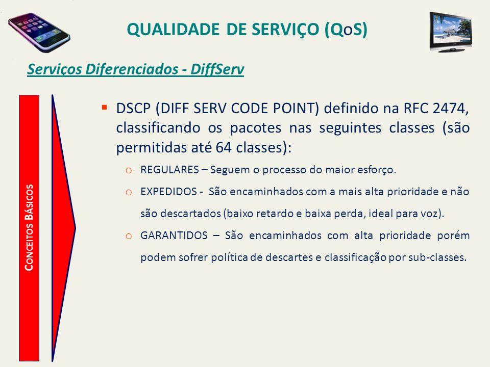QUALIDADE DE SERVIÇO (QoS) C ONCEITOS B ÁSICOS Serviços Diferenciados - DiffServ DSCP (DIFF SERV CODE POINT) definido na RFC 2474, classificando os pa