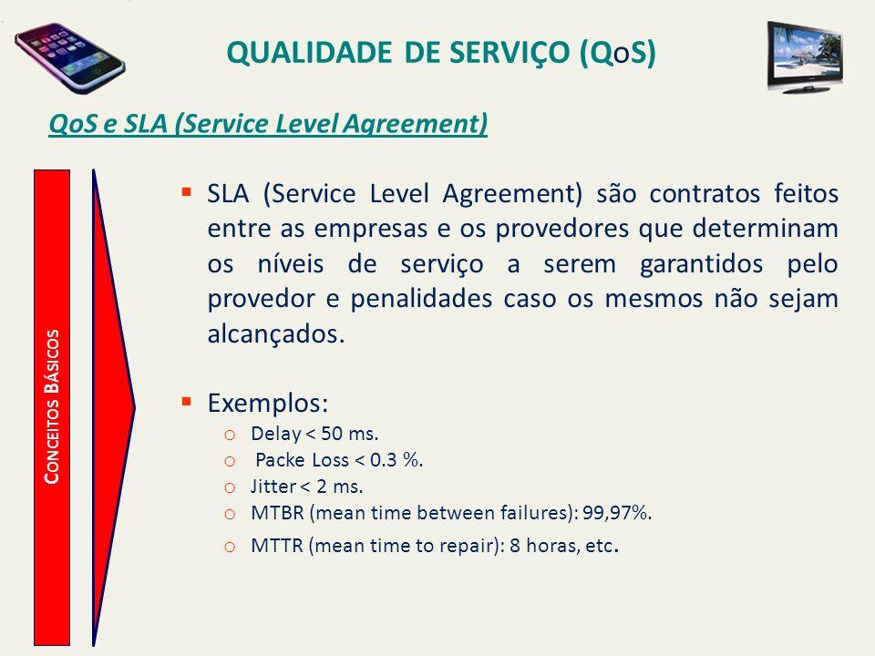 QUALIDADE DE SERVIÇO (QoS) C ONCEITOS B ÁSICOS QoS e SLA (Service Level Agreement) SLA (Service Level Agreement) são contratos feitos entre as empresa