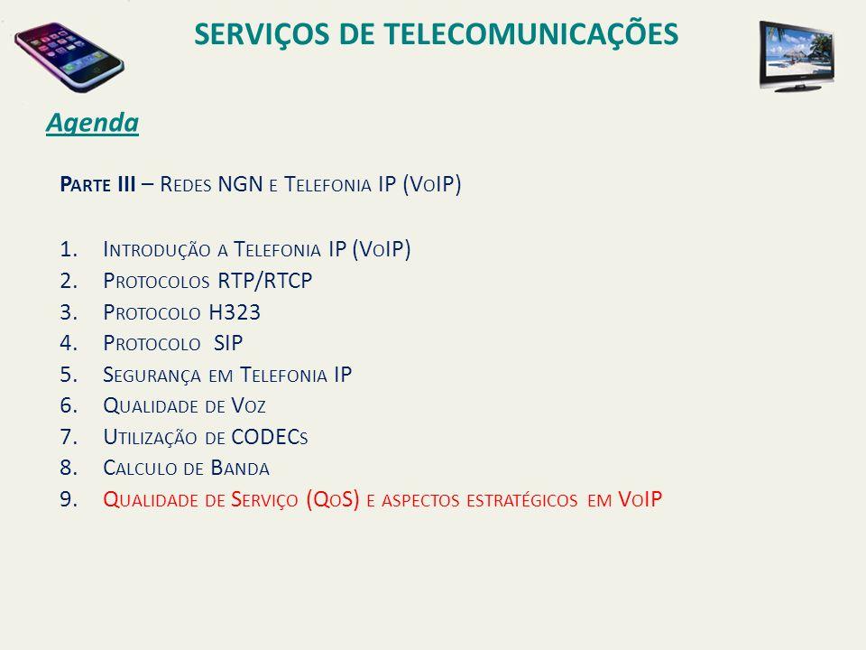 P ARTE III – R EDES NGN E T ELEFONIA IP (V O IP) 1.I NTRODUÇÃO A T ELEFONIA IP (V O IP) 2.P ROTOCOLOS RTP/RTCP 3.P ROTOCOLO H323 4.P ROTOCOLO SIP 5.S