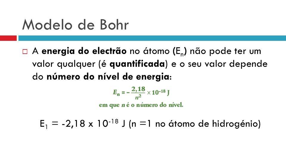 Modelo de Bohr A energia do electrão no átomo (E n ) não pode ter um valor qualquer (é quantificada) e o seu valor depende do número do nível de energia: E 1 = -2,18 x 10 -18 J (n =1 no átomo de hidrogénio)