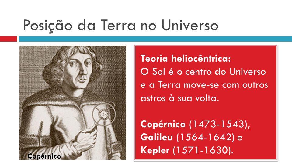 Posição da Terra no Universo Teoria heliocêntrica: O Sol é o centro do Universo e a Terra move-se com outros astros à sua volta. Copérnico (1473-1543