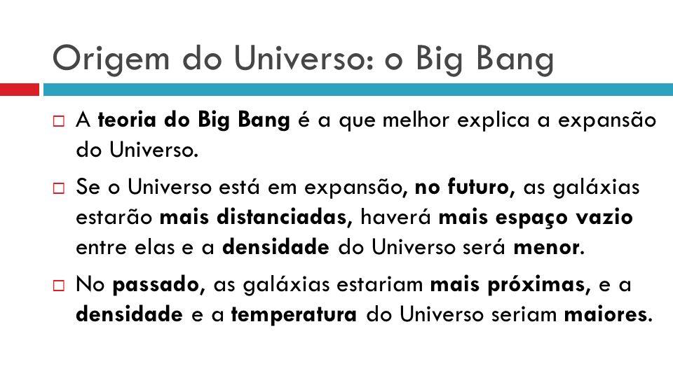 Origem do Universo: o Big Bang A teoria do Big Bang é a que melhor explica a expansão do Universo. Se o Universo está em expansão, no futuro, as galáx