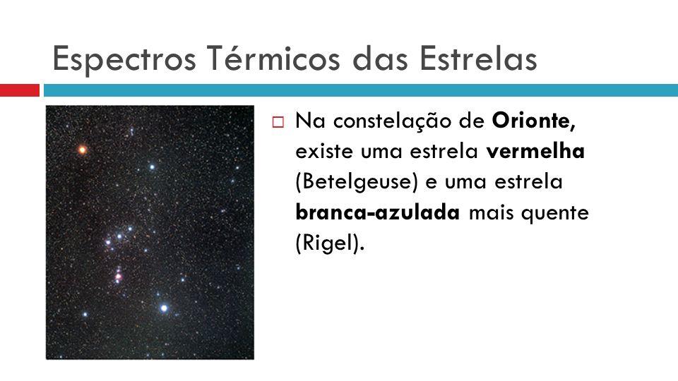 Espectros Térmicos das Estrelas Na constelação de Orionte, existe uma estrela vermelha (Betelgeuse) e uma estrela branca-azulada mais quente (Rigel).