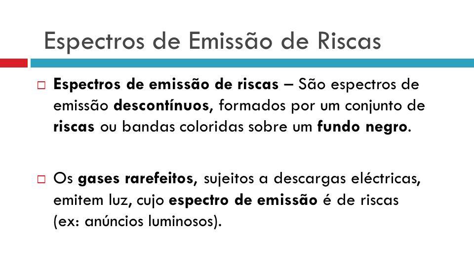 Espectros de Emissão de Riscas Espectros de emissão de riscas – São espectros de emissão descontínuos, formados por um conjunto de riscas ou bandas coloridas sobre um fundo negro.