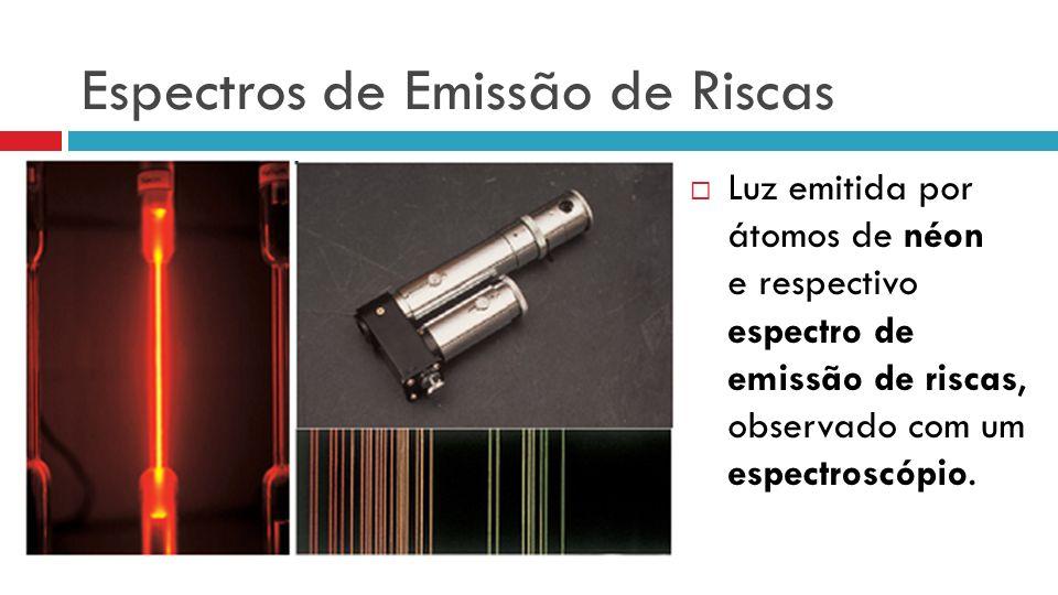 Espectros de Emissão de Riscas Luz emitida por átomos de néon e respectivo espectro de emissão de riscas, observado com um espectroscópio.