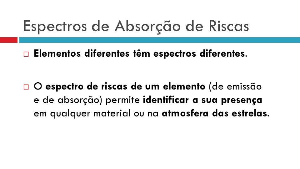 Elementos diferentes têm espectros diferentes. O espectro de riscas de um elemento (de emissão e de absorção) permite identificar a sua presença em qu