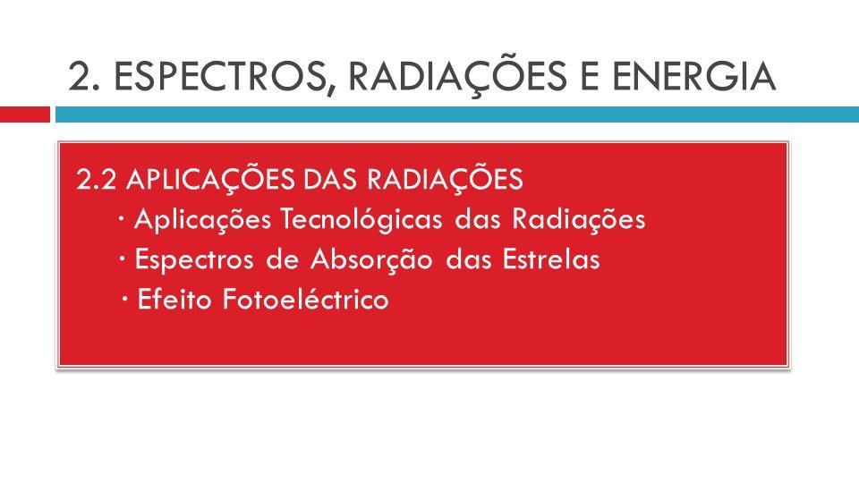 2. ESPECTROS, RADIAÇÕES E ENERGIA 2.2 APLICAÇÕES DAS RADIAÇÕES · Aplicações Tecnológicas das Radiações · Espectros de Absorção das Estrelas · Efeito F