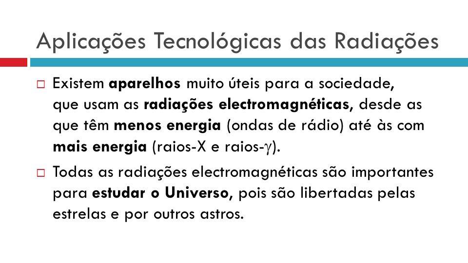Aplicações Tecnológicas das Radiações Existem aparelhos muito úteis para a sociedade, que usam as radiações electromagnéticas, desde as que têm menos energia (ondas de rádio) até às com mais energia (raios-X e raios- ).