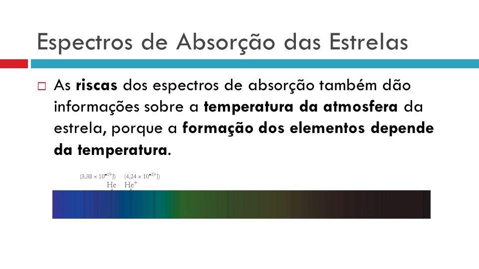 Espectros de Absorção das Estrelas As riscas dos espectros de absorção também dão informações sobre a temperatura da atmosfera da estrela, porque a formação dos elementos depende da temperatura.