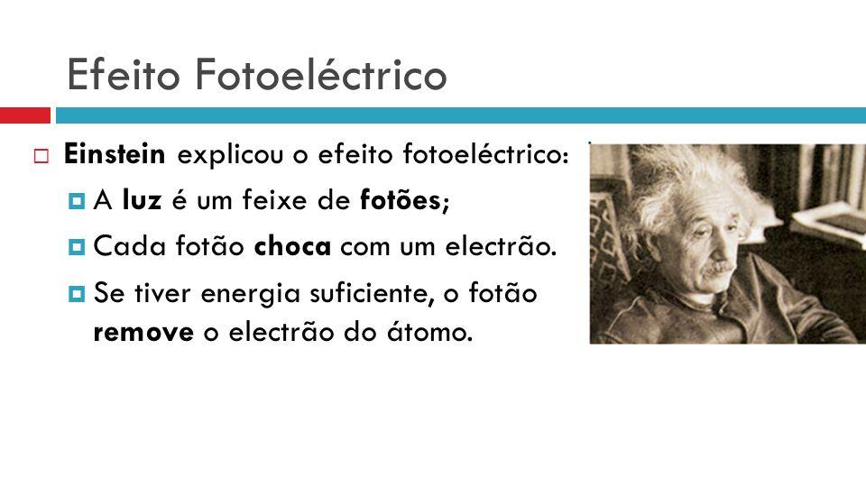 Efeito Fotoeléctrico Einstein explicou o efeito fotoeléctrico: A luz é um feixe de fotões; Cada fotão choca com um electrão. Se tiver energia suficien