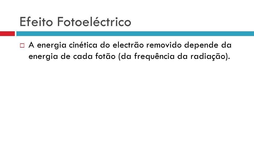 Efeito Fotoeléctrico A energia cinética do electrão removido depende da energia de cada fotão (da frequência da radiação).