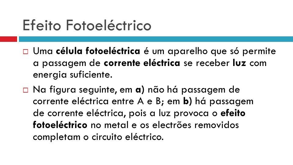 Efeito Fotoeléctrico Uma célula fotoeléctrica é um aparelho que só permite a passagem de corrente eléctrica se receber luz com energia suficiente. Na