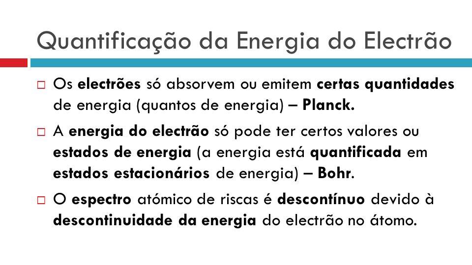 Quantificação da Energia do Electrão Os electrões só absorvem ou emitem certas quantidades de energia (quantos de energia) – Planck. A energia do elec