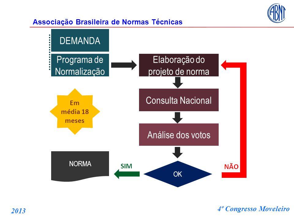DEMANDA Programa de Normalização Elaboração do projeto de norma Consulta Nacional Análise dos votos OK NORMA SIM NÃO Em média 18 meses Associação Bras