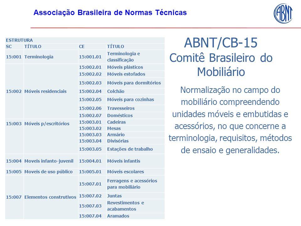 ABNT/CB-15 Comitê Brasileiro do Mobiliário Normalização no campo do mobiliário compreendendo unidades móveis e embutidas e acessórios, no que concerne