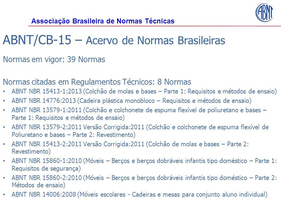 ABNT/CB-15 – Acervo de Normas Brasileiras Normas em vigor: 39 Normas Normas citadas em Regulamentos Técnicos: 8 Normas ABNT NBR 15413-1:2013 (Colchão