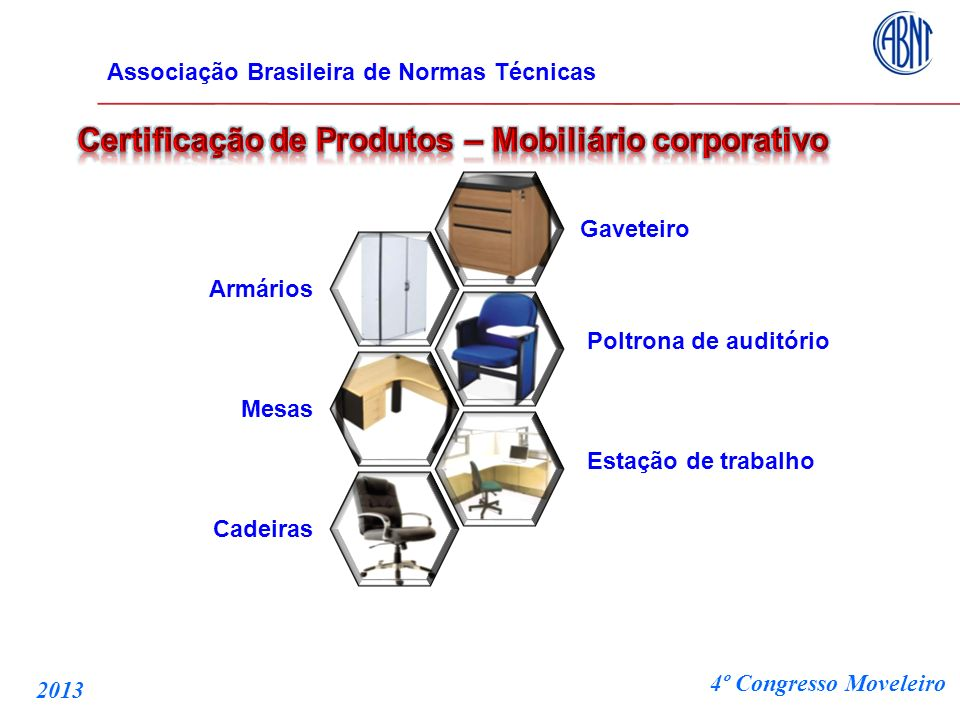 Gaveteiro Poltrona de auditório Estação de trabalho Armários Mesas Cadeiras Associação Brasileira de Normas Técnicas 4º Congresso Moveleiro 2013