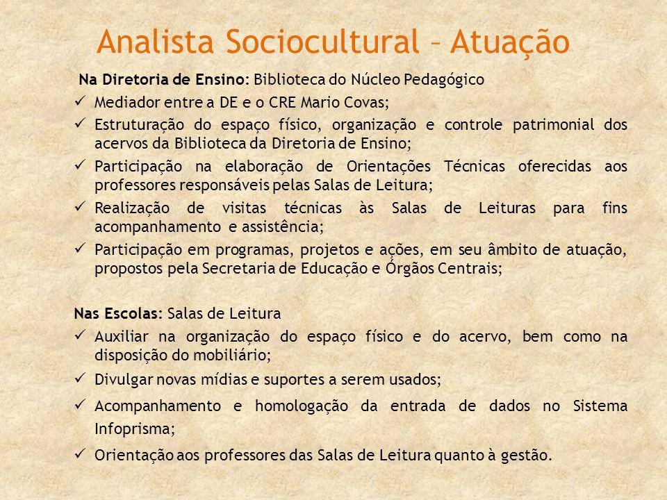Analista Sociocultural – Atuação Na Diretoria de Ensino: Biblioteca do Núcleo Pedagógico Mediador entre a DE e o CRE Mario Covas; Estruturação do espa