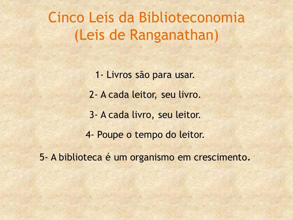 Cinco Leis da Biblioteconomia (Leis de Ranganathan) 1- Livros são para usar. 2- A cada leitor, seu livro. 3- A cada livro, seu leitor. 4- Poupe o temp