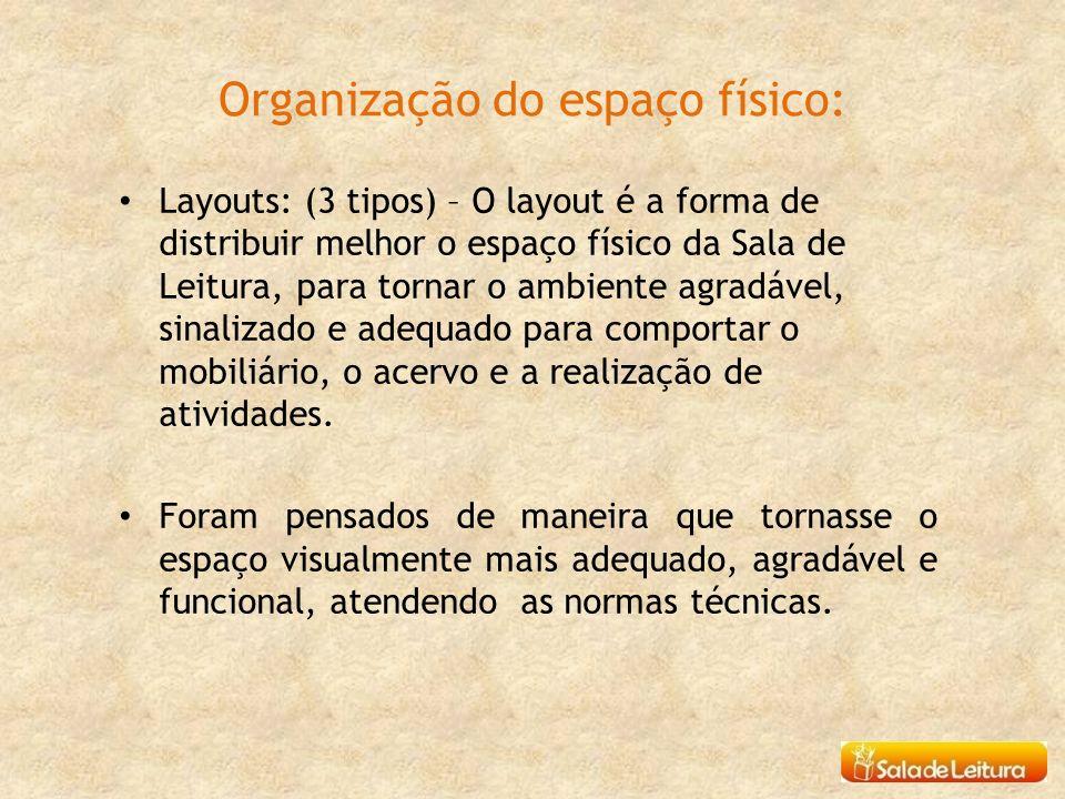Organização do espaço físico: Layouts: (3 tipos) – O layout é a forma de distribuir melhor o espaço físico da Sala de Leitura, para tornar o ambiente