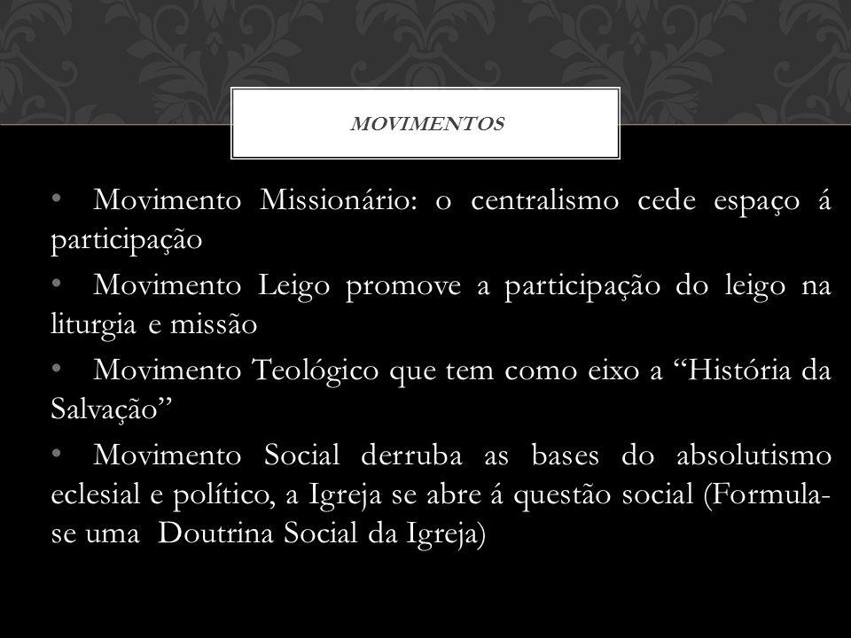 Movimento Missionário: o centralismo cede espaço á participação Movimento Leigo promove a participação do leigo na liturgia e missão Movimento Teológi