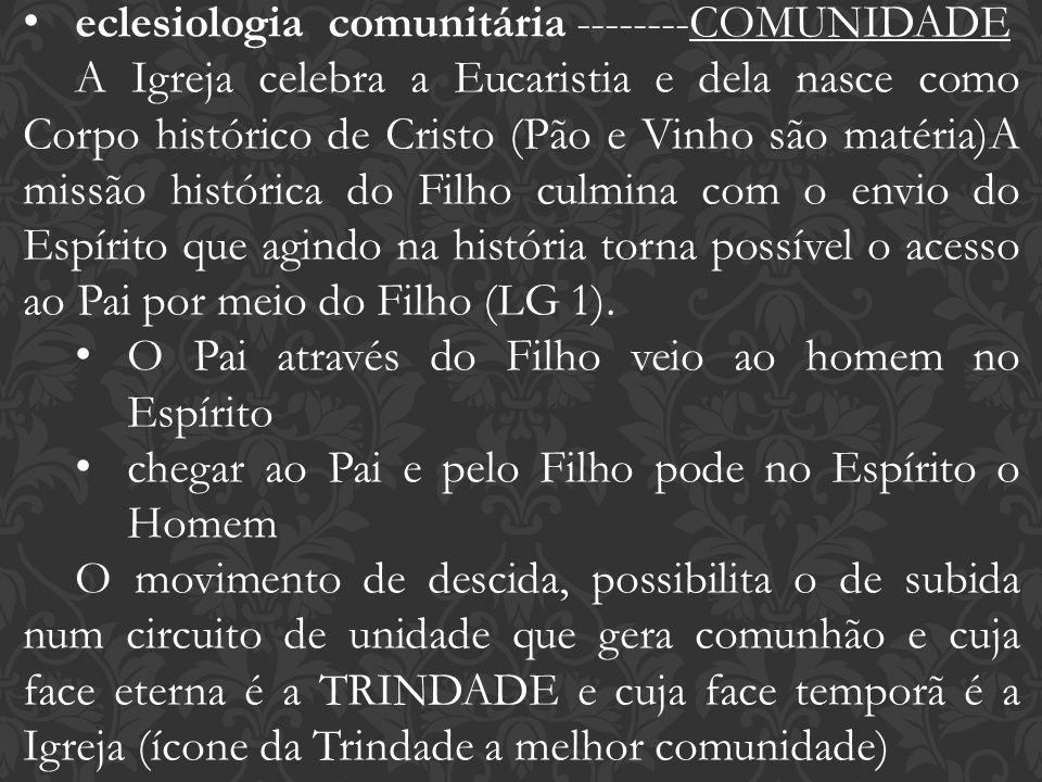 eclesiologia comunitária --------COMUNIDADE A Igreja celebra a Eucaristia e dela nasce como Corpo histórico de Cristo (Pão e Vinho são matéria)A missã