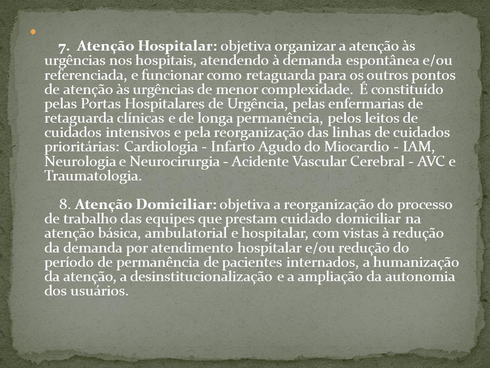 7. Atenção Hospitalar: objetiva organizar a atenção às urgências nos hospitais, atendendo à demanda espontânea e/ou referenciada, e funcionar como ret