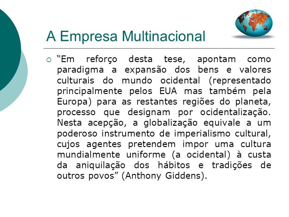 A Empresa Multinacional Neste âmbito, as empresas provocam uma homogeneização da cultura, quer seja, na alimentação, na moda ou na música. Os nossos e