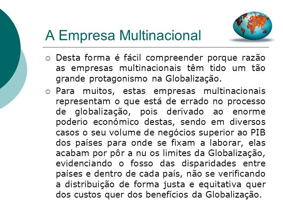 A Empresa Multinacional Para além disso, a dimensão das multinacionais em relação aos países onde operam e a pobreza desses países faz com que eles ne
