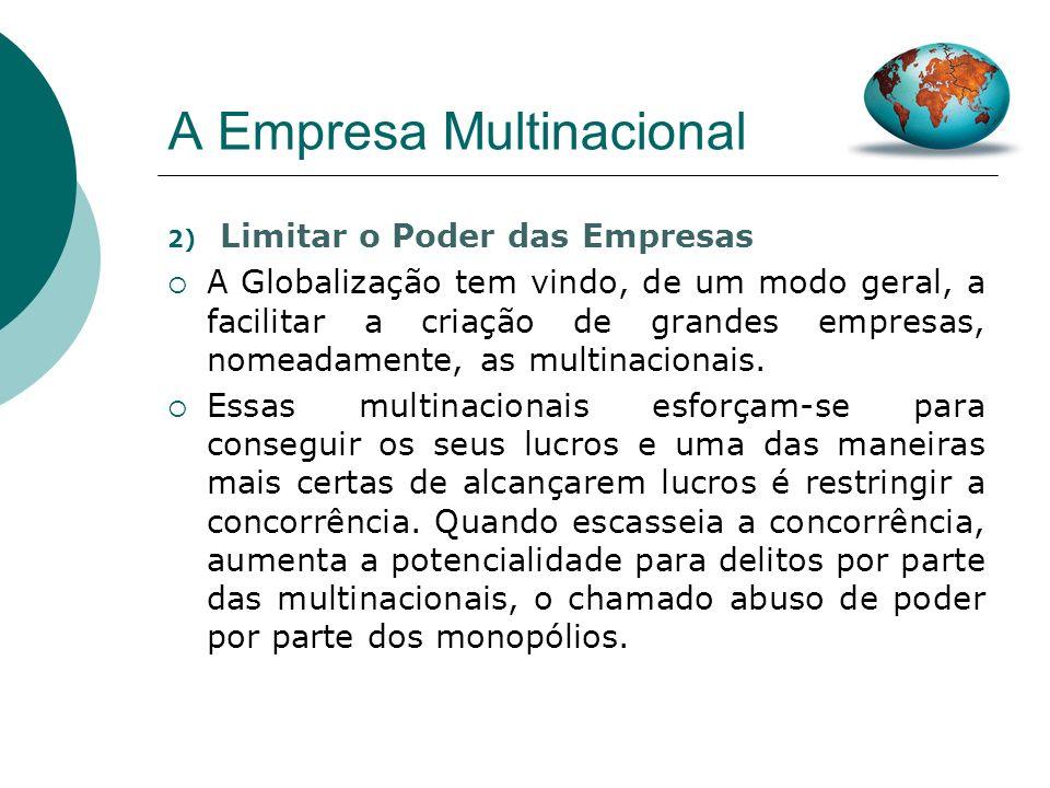 A Empresa Multinacional Em 2000, por exemplo, a OCDE reportou 246 códigos de boa conduta adoptados por empresas multinacionais (Bongalia e Goldstein, 2003:76).
