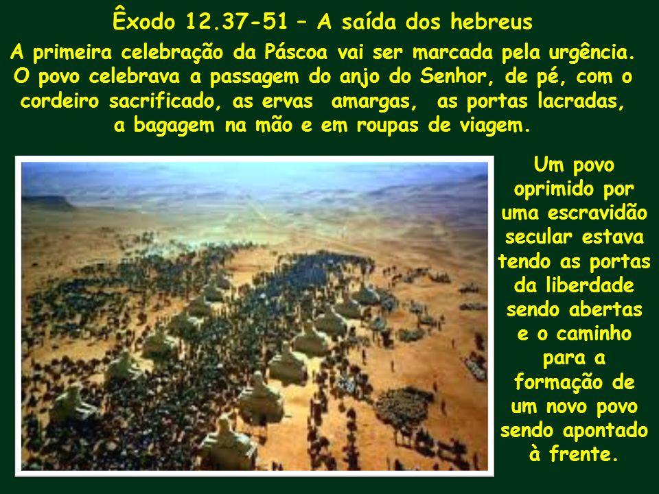 Êxodo 12.37-51 – A saída dos hebreus A primeira celebração da Páscoa vai ser marcada pela urgência. O povo celebrava a passagem do anjo do Senhor, de