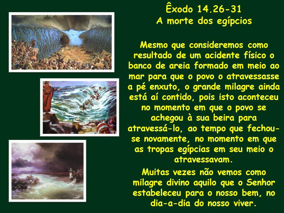 Êxodo 14.26-31 A morte dos egípcios Mesmo que consideremos como resultado de um acidente físico o banco de areia formado em meio ao mar para que o pov