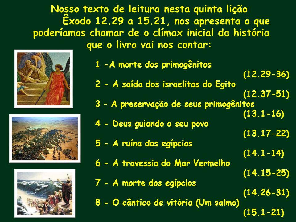 Nosso texto de leitura nesta quinta lição Êxodo 12.29 a 15.21, nos apresenta o que poderíamos chamar de o clímax inicial da história que o livro vai n