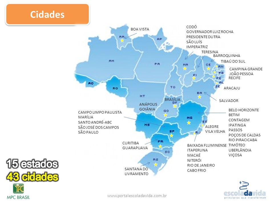 Cidades www.portalescoladavida.com.br SALVADOR BARROQUINHA BRASÍLIA ALEGRE VILA VELHA ANÁPOLIS GOIÂNIA CODÓ GOVERNADOR LUIZ ROCHA PRESIDENTE DUTRA SÃO