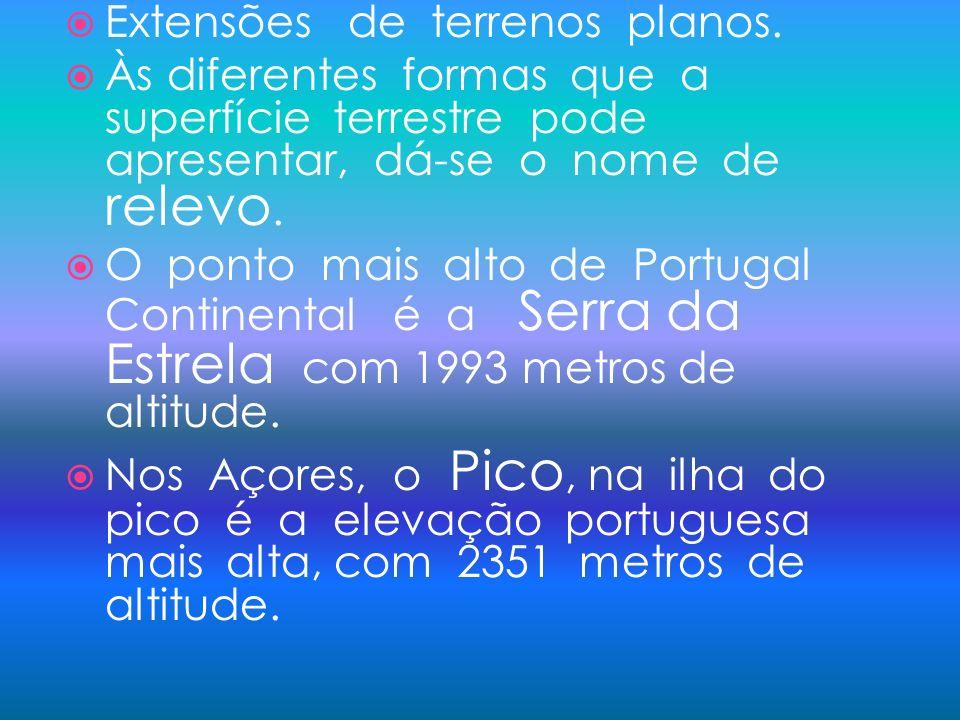 Extensões de terrenos planos. Às diferentes formas que a superfície terrestre pode apresentar, dá-se o nome de relevo. O ponto mais alto de Portugal C