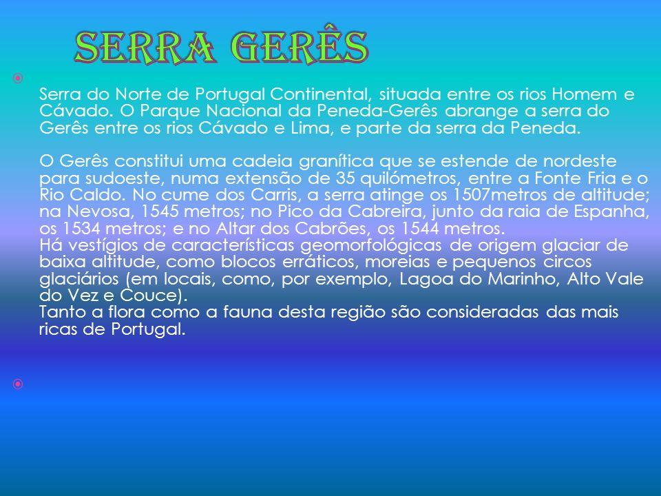 Serra do Norte de Portugal Continental, situada entre os rios Homem e Cávado. O Parque Nacional da Peneda-Gerês abrange a serra do Gerês entre os rios