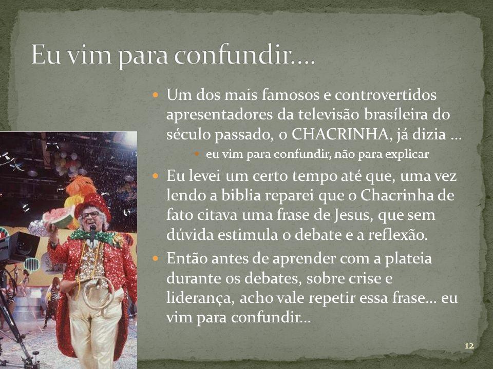 Um dos mais famosos e controvertidos apresentadores da televisão brasíleira do século passado, o CHACRINHA, já dizia … eu vim para confundir, não para