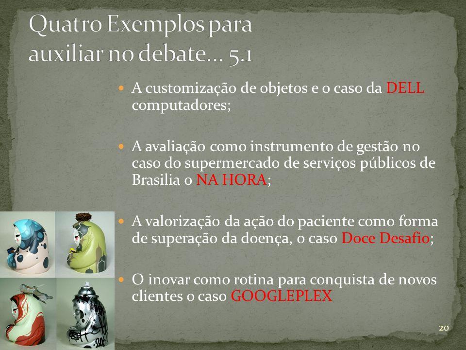 A customização de objetos e o caso da DELL computadores; A avaliação como instrumento de gestão no caso do supermercado de serviços públicos de Brasil