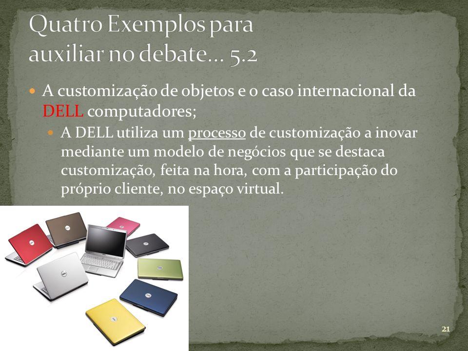 A customização de objetos e o caso internacional da DELL computadores; A DELL utiliza um processo de customização a inovar mediante um modelo de negóc