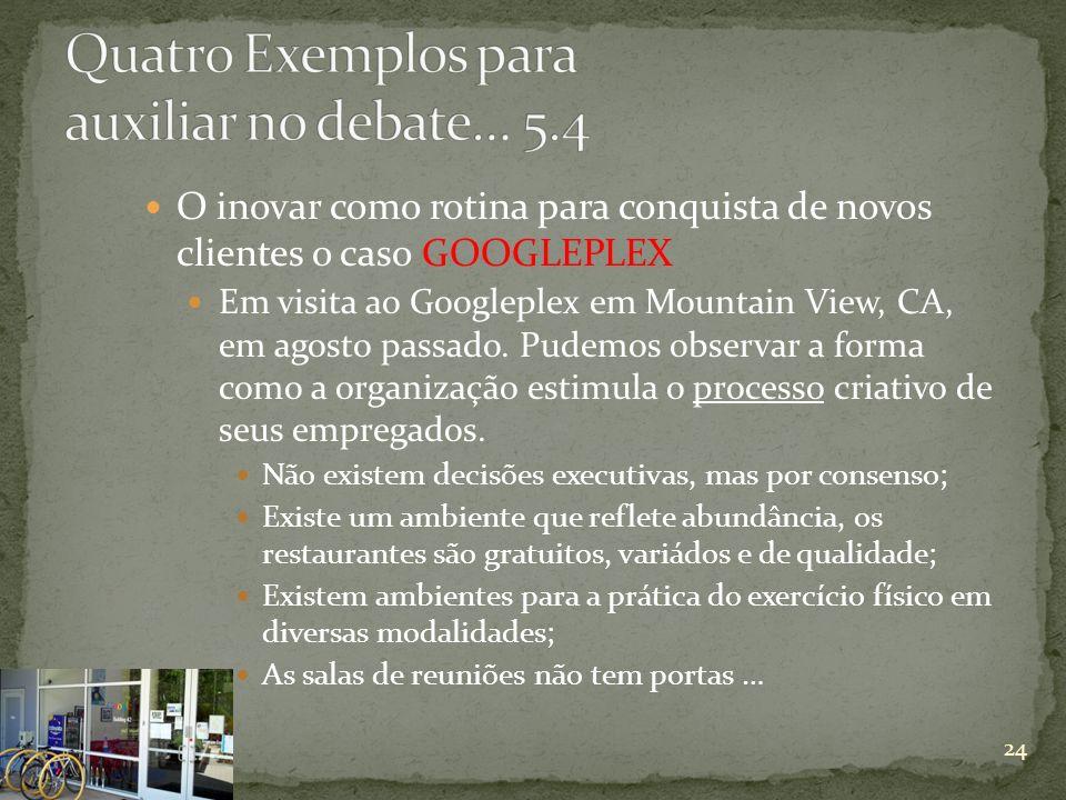 O inovar como rotina para conquista de novos clientes o caso GOOGLEPLEX Em visita ao Googleplex em Mountain View, CA, em agosto passado. Pudemos obser