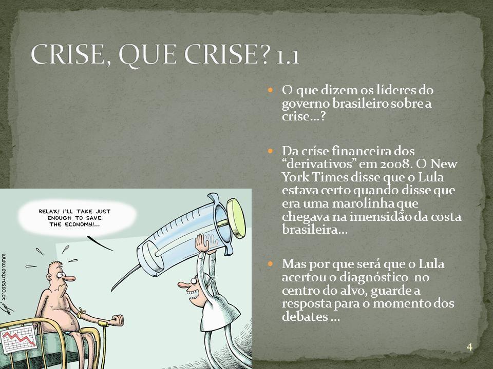O que dizem os líderes do governo brasileiro sobre a crise…? Da críse financeira dos derivativos em 2008. O New York Times disse que o Lula estava cer