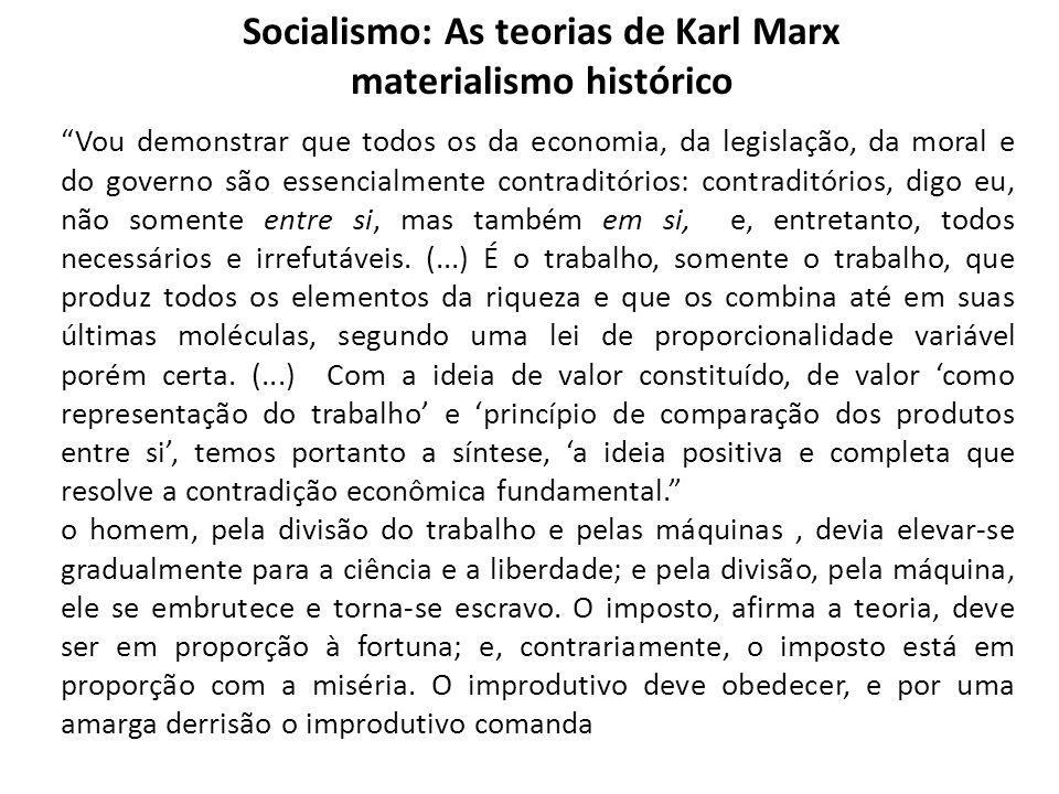 Socialismo: As teorias de Karl Marx materialismo histórico Vou demonstrar que todos os da economia, da legislação, da moral e do governo são essencial