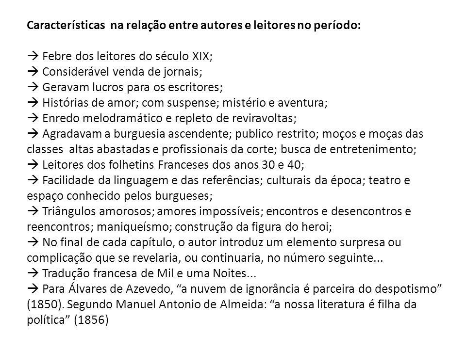 Características na relação entre autores e leitores no período: Febre dos leitores do século XIX; Considerável venda de jornais; Geravam lucros para o