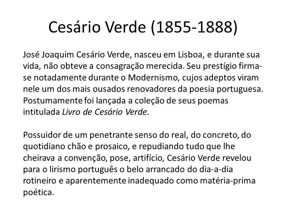 Cesário Verde (1855-1888) José Joaquim Cesário Verde, nasceu em Lisboa, e durante sua vida, não obteve a consagração merecida. Seu prestígio firma- se
